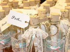 Create your own message in a bottle invitation or wedding favor with our glass favor jars.  Perfect #beach #weddingfavor Glass favor jars (personalized)