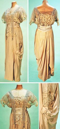 Evening gown, Chellier, Paris, ca. 1914. Beige silk with striped pattern weave, boned bodice in net with short sleeves. Bobbin lace and net pendant bands with pearls and crystal beads ending with pearl drops. Narrow draped and gathered skirt with self bows and buttons, side lace insert and pearl drops. Whitaker Auctions
