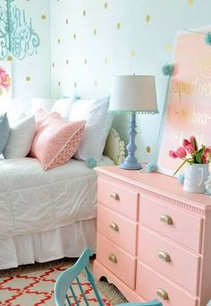 20 Sweet Teenage Girl Bedroom Ideas for your Home Amazing Girl Bedroom, Bedroom Girls Teenage, Cute Teen Girls Bedroom Ideas, Little Girl Bedroom Ideas, Little Girls Bedroom Decorating Ideas Blue Teen Girl Bedroom, Pastel Bedroom, Bedroom Decor For Teen Girls, Cute Bedroom Ideas, Teenage Girl Bedrooms, Girl Room, Girl Bedroom Designs, Kids Bedroom Ideas For Girls Tween, Narrow Bedroom Ideas