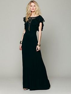 Great Free People nod to the 30's with this maxi dress, but updated to be very casual based on their fabric and construction choices.  I might choose to copy this instead as a work dress at a knee length, with more finished construction and probably not in a knit.  If knit, it must be more substantial.  If not knit, should be bias at least through the skirt.  Cut with a waist seam at natural waist.