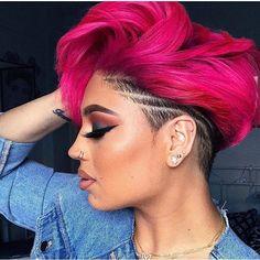 human hair wigs fashion lace wigs black hair hair cut wigs wear curly wigs human hair wigs fashion l Pink And Black Hair, Hot Pink Hair, Pink Short Hair, Pixie Hairstyles, Cool Hairstyles, Short Weave Hairstyles, Black Women Hairstyles, Curly Hair Styles, Natural Hair Styles