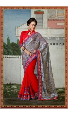 Elegant Gray and Red Embroidered Partywear Sarees Online