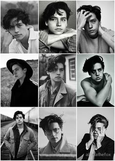 cole sprouse black and white aesthetic collage
