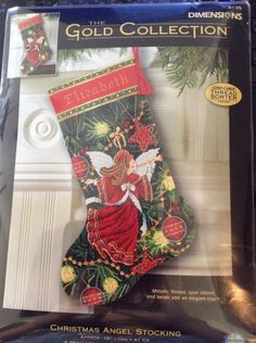 """Dimensions #9135 Gold Collection Christmas Angel 16"""" Needlepoint Stocking Kit #Dimensions"""