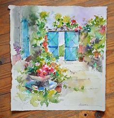 "Daily Paintworks - ""A Taste of Watercolor in France"" - Original Fine Art for Sale - © Dreama Tolle Perry"