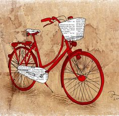 Book art on a red bike