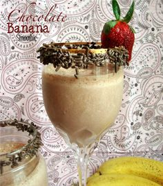Chocolate Banana Smoothie - Chocolate Chocolate and More! Chocolate Banana Smoothie, with sprinkles because Sprinkles make everything more fun! How To Make Smoothies, Yummy Smoothies, Yummy Drinks, Smoothie Recipes, Yummy Food, Smoothie Drinks, Drink Recipes, Healthy Food, Chocolate Banana Smoothie
