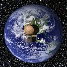 Earth vs. Pluto vs. Charon. Pluto & Charon as they would appear slightly above Earth's surface. Recent measurements by New Horizons indicate: Pluto's diameter 2370 km, (18.5% that of Earth's), Charon's 1208 km (9.5% that of Earth's).