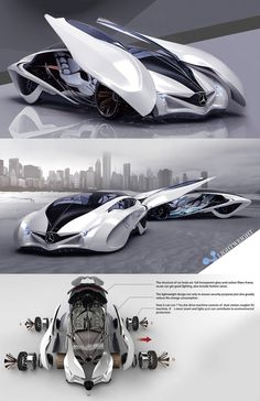 ♂ Dolphin concept car is the third winner of Michelin design challenge 2013, it reflects the principle of sporty, scientific and futuristic. The body structure is constructed from full transparent glass and carbon fiber
