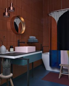 3 amazing studio apartments with interesting spring accent design . - 3 amazing studio apartments that create interesting spring accent design and beautiful color – - Home Interior, Bathroom Interior, Interior Architecture, Bathroom Inspiration, Interior Design Inspiration, Bathroom Ideas, Cozy Bathroom, Design Ideas, Bathroom Plants