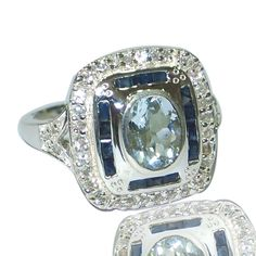 Solid 925 Sterling Silver With Aquamarine & Sapphire Handmade Ring Size 7