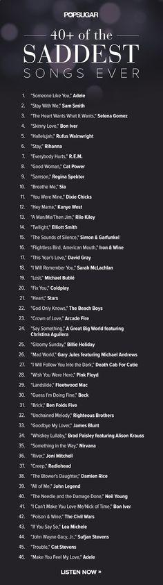 Les 40 chansons les plus tristes et... DEUX serviettes éponge, sil vous plait !