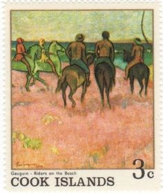 Stamp: Riders on the Beach (Cook Islands) (Gauguin Paintings) Mi:CK 171,Sn:CK 222