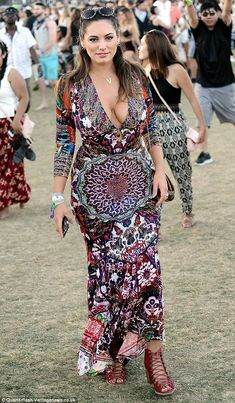 Letting her hair down: Kelly Brook looked incredible in a boho-inspired dress at the Coach...