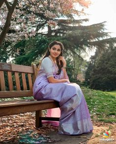 Image may contain: 1 person, sitting, tree, outdoor and nature Beautiful Girl In India, Beautiful Saree, Stylish Blouse Design, Indian Bridal Outfits, Casual Saree, Elegant Saree, Tamil Actress Photos, Bride Look, Traditional Looks