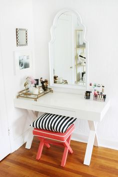 Gorgeous vanity corner by Burlap and Lace!