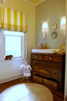 Nursery, extra especially like the changing table/dresser Baby Room Design, Nursery Design, Commercial Interior Design, Commercial Interiors, Window Coverings, Window Treatments, Changing Table Dresser, Changing Tables, Decoration Design