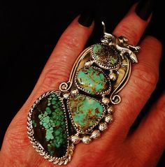 NAVAJO CHAVEZ LIZARD TURQUOISE SIGNED RING,30 grams  Sterling Silver, sz 6.5
