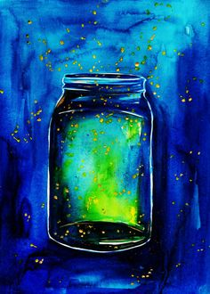 Southern Summers-Fireflies In A Mason Jar Print of Watercolor Illustration