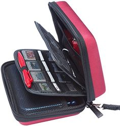 BRENDO Nintendo 3DS XL  3DS Hard Case with 24 Game Card Holders  Wine Red -- Click image to review more details. (Note:Amazon affiliate link)