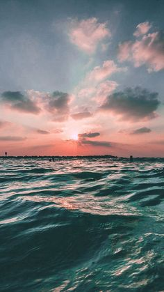 Sunset Sea Sky Ocean Summer Green Water Nature #iPhone #7 #wallpaper