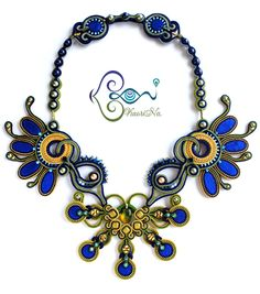 """Peacock"" BeadDreams 2015 - ソウタシエ・ネックレス Soutache Necklace by KaoriNa."