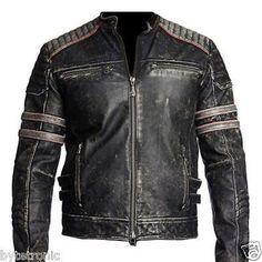 Mens Vintage Black Distressed Motorcycle Biker Cafe Racer Real Leather Jacket