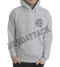 anti social social club grey color Hoodie