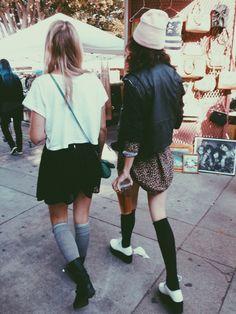 stylish friends. thigh high socks.