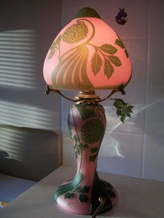 Beautiful Antique Pink Green Cameo Glass Boudoir Art Nouveau Style Festa Lamp | eBay