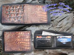 Check out this item in my Etsy shop https://www.etsy.com/listing/467796190/embossed-gator-wallet-gator-bi-fold