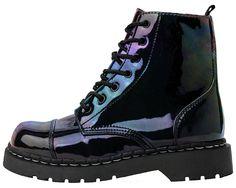 Iridescent Black Vegan Combat Boots | T.U.K. Shoes | Footwear ...