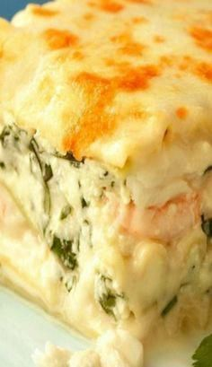 """Seafood Lasagne with real Crab meat not imitation _ This rich satisfying dish is loaded with Scallops, Shrimp & Crab in a creamy sauce. I consider this the """"crown jewel"""" in my repertoire of recipes!"""