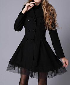 Vintage Style Lapel Lace Hem Double Breasted Woolen Blend Women's Coat, WHITE, S in Jackets & Coats | DressLily.com