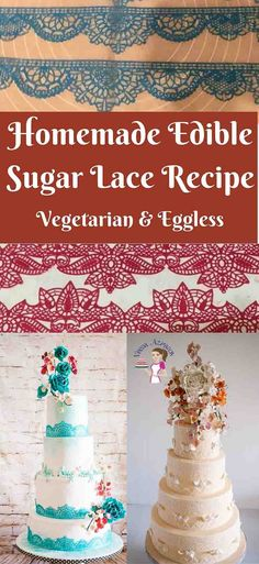 Edible lace has always been the an intricate part of cake decorating but now has become a massive trend. Here's a simple homemade edible sugar lace recipe that can be applied to any cake from simple buttercream to naked ganache or a decorated fondant cake. Have fun exploring new possibilities with this new easy to use homemade recipe. via @Veenaazmanov