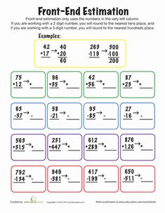 Second Grade Rounding & Estimation Worksheets: Front-End Estimation