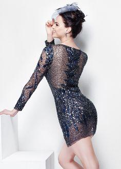 Primavera 9909 Illusion Sequin Long Sleeve Dress #CrushingOnRissyRoos #favorite #cute #fashion #RissyRoos #style #prominspiration #prom #prom2k15 #promfashion #partydress #party #fun #purple #blue #navyblue #shortdresses #shortandcute