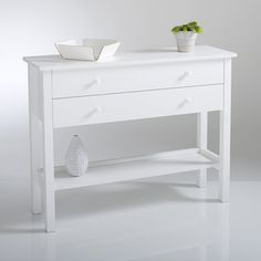 PERRINE Solid Pine Console Table La Redoute Interieurs : 2 drawers1 bottom shelf with raised edging