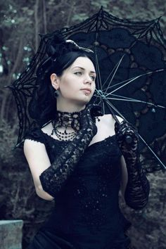 Black Victorian Gothic Bustle Dress Costume designer: Katherine Baumgertner