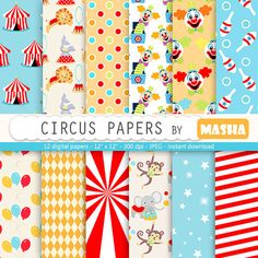 Circus papers: CIRCUS DIGITAL PAPER with circus by MashaStudio