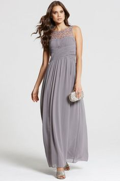 Dark Grey Embellished Neck Maxi Dress