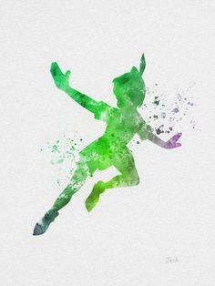 """Peter Pan Flying ART PRINT 10 x 8 """"illustration, Disney, technique mixte, Home Decor, pépinière, Kid, rouge"""