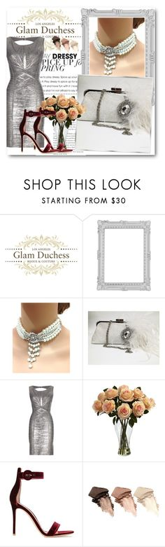 """""""Glam Duchess 6"""" by fashionmonsters on Polyvore featuring Paperchase, Hervé Léger, Nearly Natural, Gianvito Rossi and Urban Decay"""