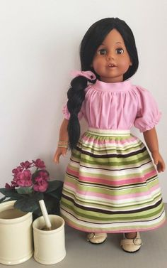 6dbdda46a8052c Raspberry Sherbet Pink Doll Blouse and Stripe Doll Skirt / 18 Inch Doll  Clothes / Doll