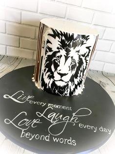 Birthday cake - cake by Marlena Elegant Birthday Cakes, Birthday Cakes For Men, Lion Birthday, Animal Birthday, Cake Cookies, Cupcakes, Black White Cakes, Lion Cakes, Cupcake Ideas