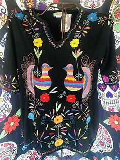 """NATIVA MEXICAN Paloma FLORAL EMBROIDERED 3/4"""" Sleeves BLOUSE WOMENS SIZE Xlarge 