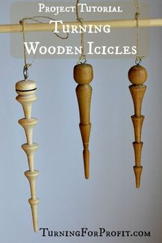 I used pen blanks to create three beautiful wooden icicles. Easy to turn and fun to shape. Perfect for any Christmas Tree. Wood Shop Projects, Lathe Projects, Wood Turning Projects, Wooden Projects, Vinyl Projects, Christmas Wood Crafts, Wooden Christmas Ornaments, Christmas Tree, Christmas Decorations