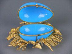 Palais Royal Gilt Mounted Blue Opaline Box image 8