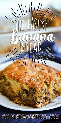 This Easy Banana Bread recipe will be the simplest homemade breakfast recipe you'll ever make. Just dump, mix & bake for moist, delicious banana bread. Donut Recipes, Banana Bread Recipes, Cookbook Recipes, Fruit Recipes, Desert Recipes, Brunch Recipes, Sweet Recipes, Cooking Recipes, Breakfast Recipes