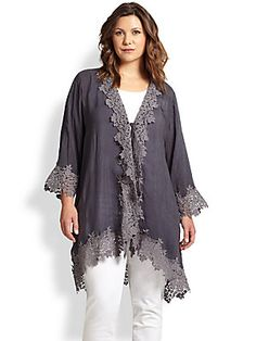 Johnny Was, Sizes 14-24 Blooming-Border Coverup